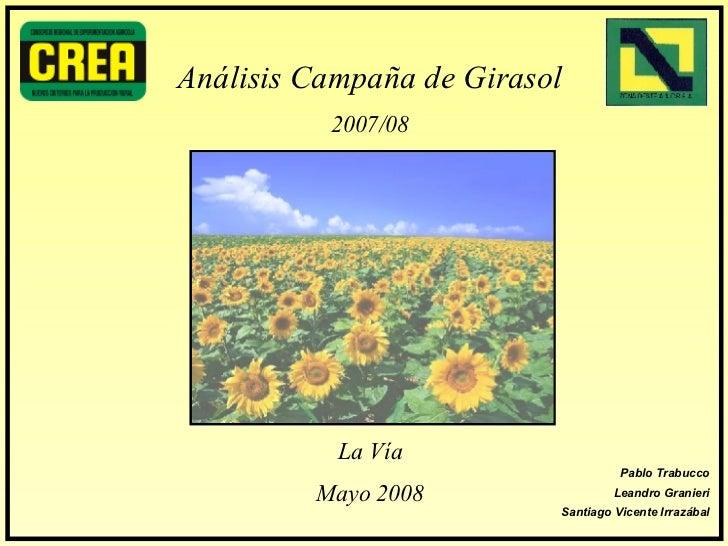 Análisis Campaña de Girasol 2007/08 La Vía Mayo 2008 Pablo Trabucco Leandro Granieri Santiago Vicente Irrazábal