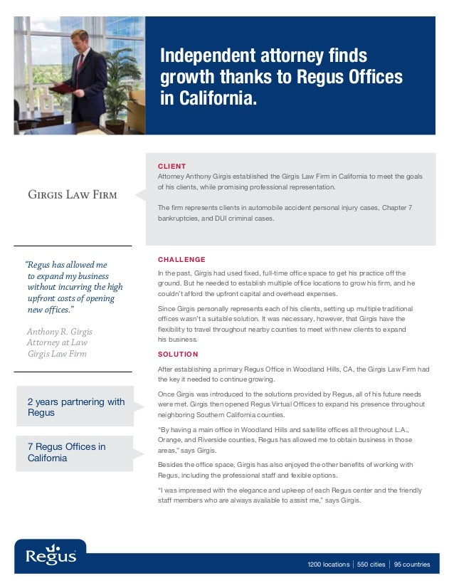 Independent attorney finds                              growth thanks to Regus Offices                              in Cal...