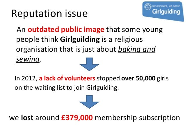 Reputation issue An outdated public image that some young people think Girlguilding is a religious organisation that is ju...