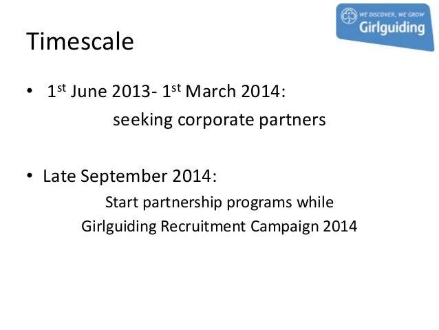 Timescale• 1st June 2013- 1st March 2014:           seeking corporate partners• Late September 2014:          Start partne...