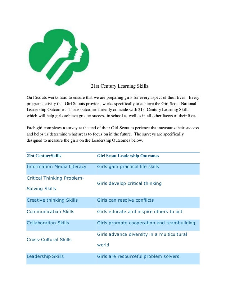 21st Century Learning SkillsGirl Scouts works hard to ensure that we are preparing girls for every aspect of their lives. ...