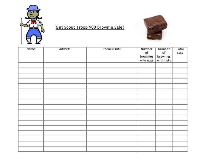 Girl Scout Troop 900 Brownie Sale!    Name    Address               Phone/Email   Number     Number      Total            ...