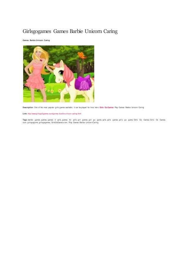 Girlsgogames Games Barbie Unicorn Caring