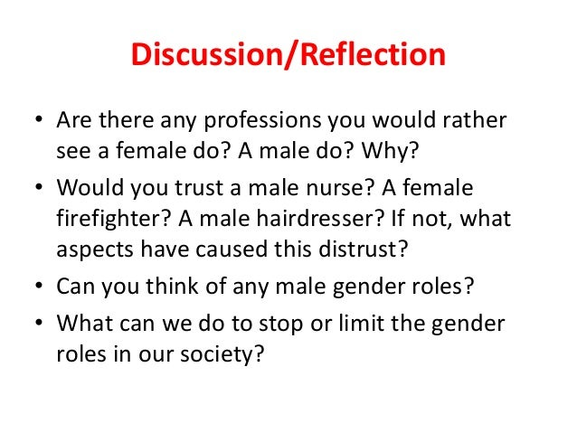 "a discussion on gender roles From 16-20 january wikigender is hosting an online discussion on the theme "" addressing gender stereotypes in the classroom: how to."