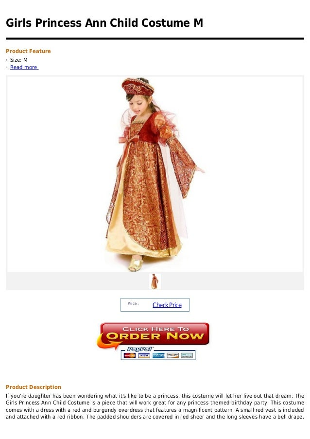 Girls Princess Ann Child Costume MProduct Featureq   Size: Mq   Read more                                                 ...
