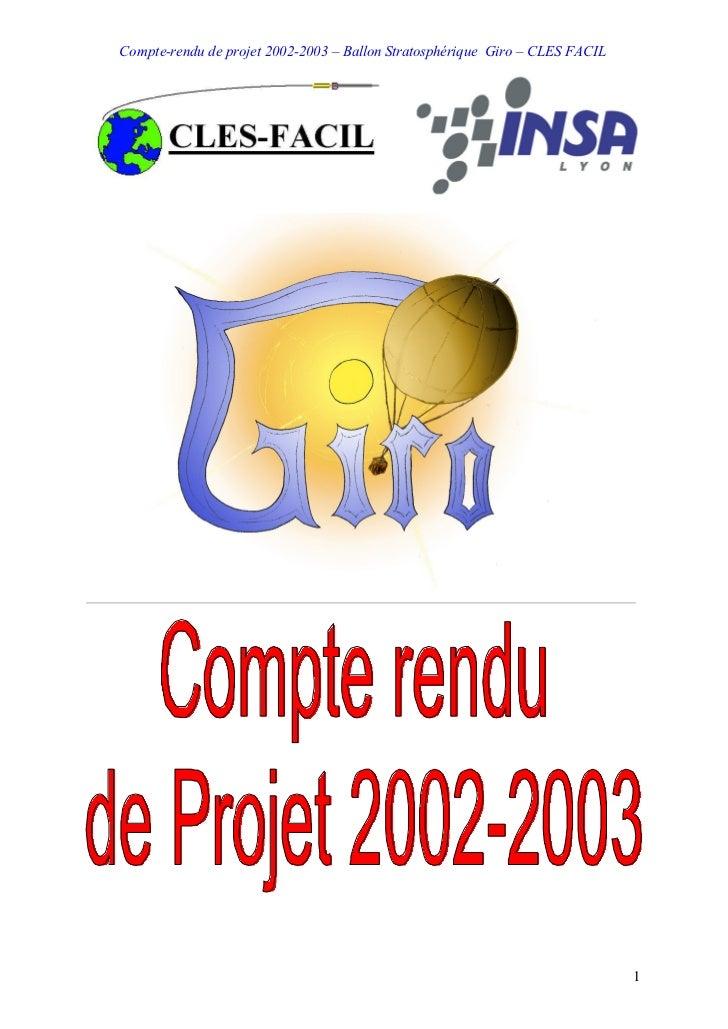 Compte-rendu de projet 2002-2003 – Ballon Stratosphérique Giro – CLES FACIL                                               ...