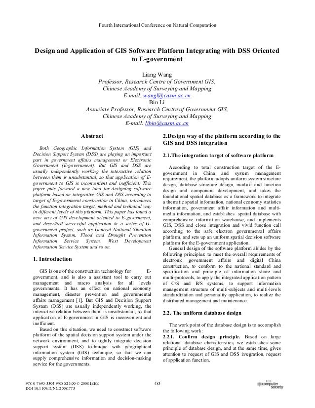 Fourth International Conference on Natural Computation    Design and Application of GIS Software Platform Integrating with...