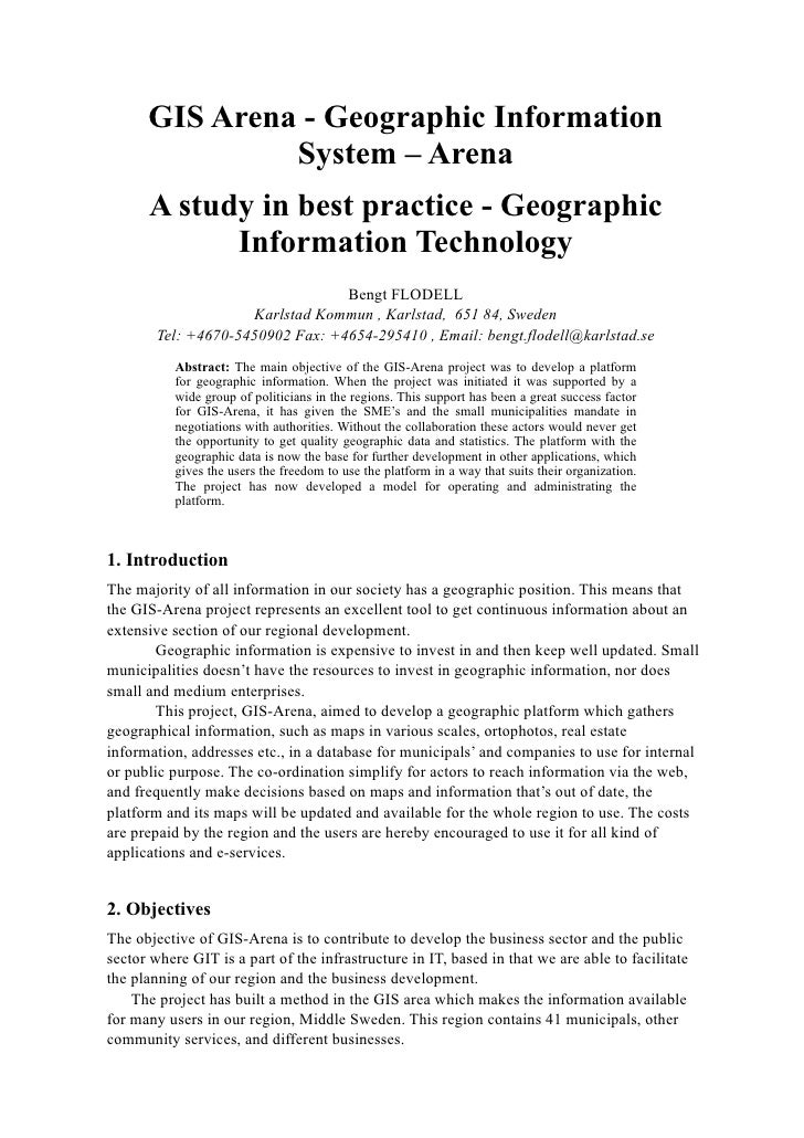 GIS Arena - Geographic Information                System – Arena       A study in best practice - Geographic             I...