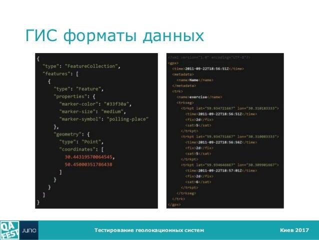 Киев 2017 ГИС форматы данных Тестирование геолокационных систем