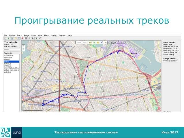 Киев 2017 Проигрывание реальных треков Тестирование геолокационных систем