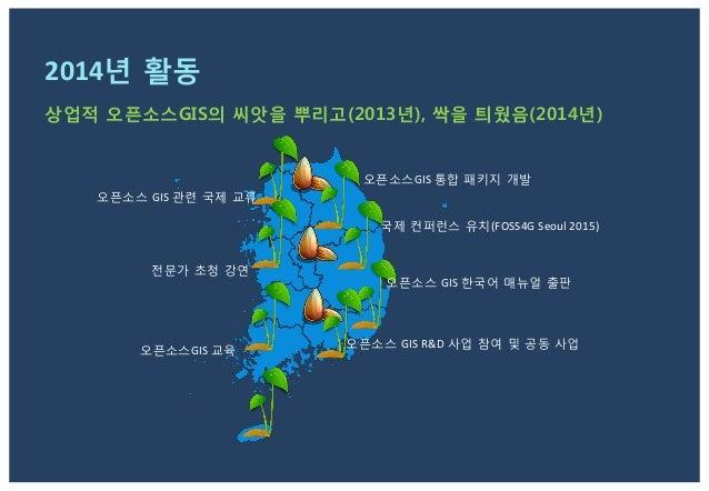 2015년 활동 목표 홍보   교육   사업   교류   공동 브랜드 개발 및 활용   -‐ Korean  Alliance  of  Open  Source  GIS  (KAOS...