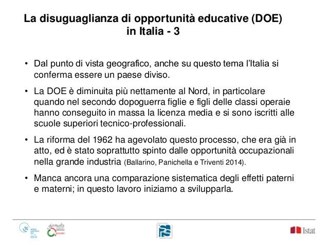 La disuguaglianza di opportunità educative (DOE) in Italia - 3 • Dal punto di vista geografico, anche su questo tema l'Ita...