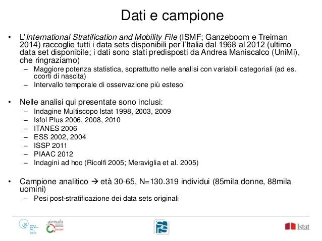 Dati e campione • L'International Stratification and Mobility File (ISMF; Ganzeboom e Treiman 2014) raccoglie tutti i data...