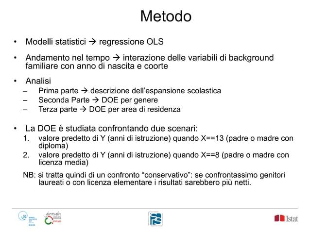 Metodo • Modelli statistici  regressione OLS • Andamento nel tempo  interazione delle variabili di background familiare ...