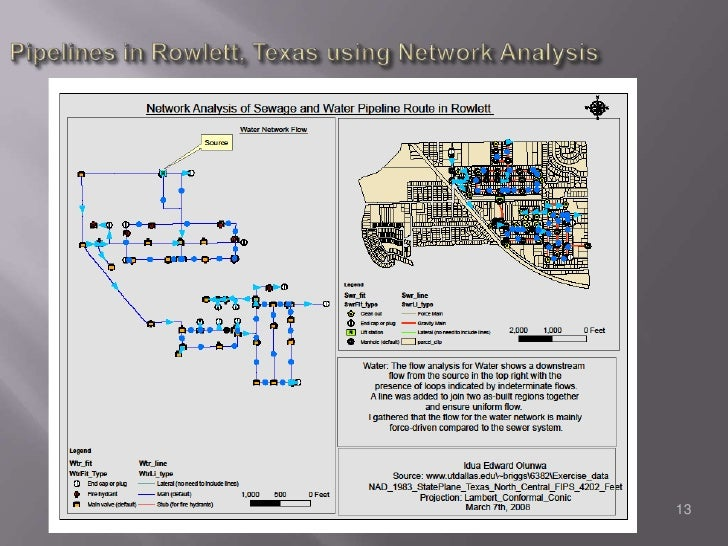 Pipelines in Rowlett, Texas using Network Analysis<br />13<br />