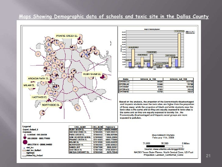 Maps Showing Demographic data of schools and toxic site in the Dallas County<br />21<br />