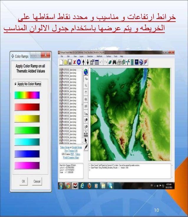 على اسقاطها نقاط محدد و مناسيب و ارتفاعات خرائط المنا االلوان جدول باستخدام عرضها يتم و ا...