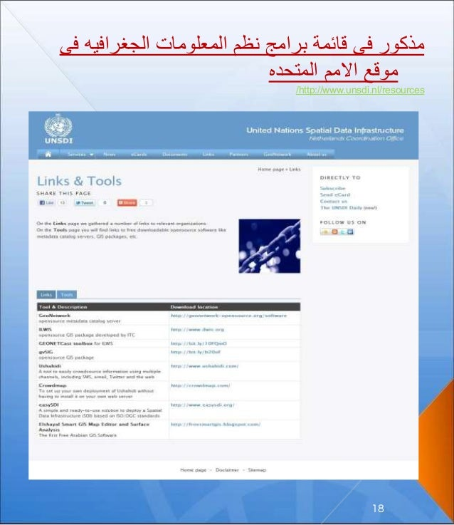 ف الجغرافيه المعلومات نظم برامج قائمة فى مذكورى المتحده االمم موقع http://www.unsdi.nl/resources/ ...