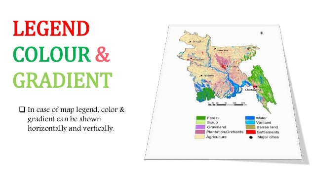 LEGEND COLOUR & GRADIENT  In case of map legend, color & gradient can be shown horizontally and vertically.
