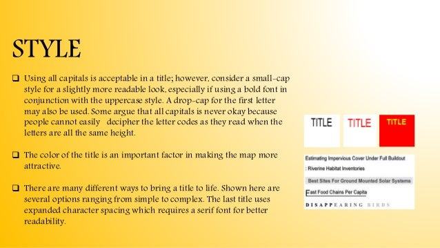  Using all capitals is acceptable in a title; however, consider a small-cap style for a slightly more readable look, espe...