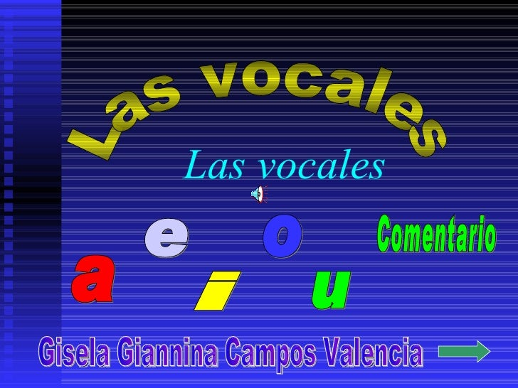 Las vocales a e i o u Las vocales Gisela Giannina Campos Valencia Comentario