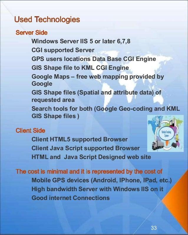 Windows Server IIS 5 or later 6,7,8 CGI supported Server GPS users locations Data Base CGI Engine GIS Shape file to KML CG...