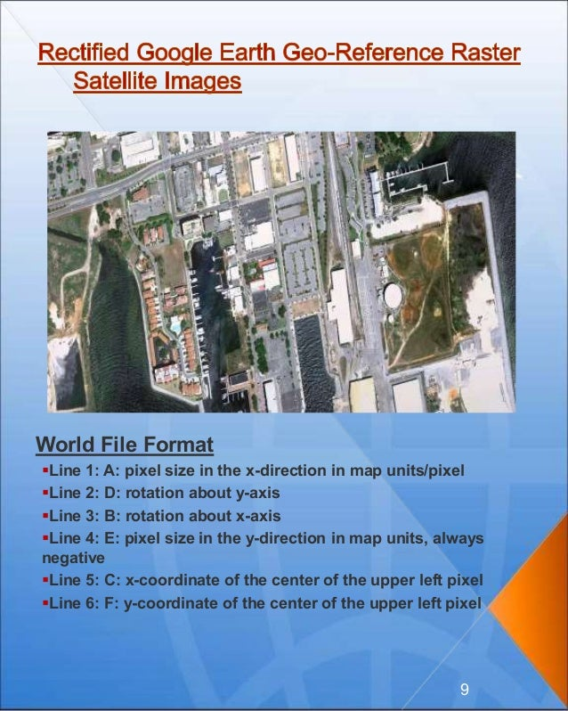 World File Format Line 1: A: pixel size in the x-direction in map units/pixel Line 2: D: rotation about y-axis Line 3: ...