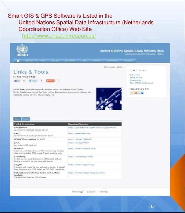 Smart GIS & GPS Software is Listed in the United Nations Spatial Data Infrastructure (Netherlands Coordination Office) Web...