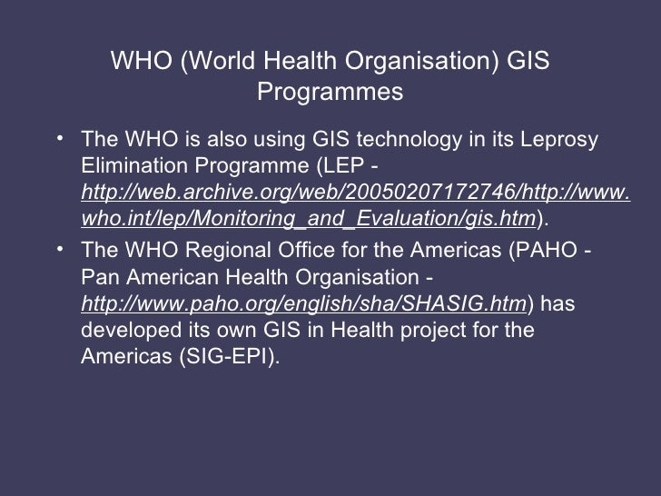 Gis in health who world health organisation gis programmes 72 sciox Images