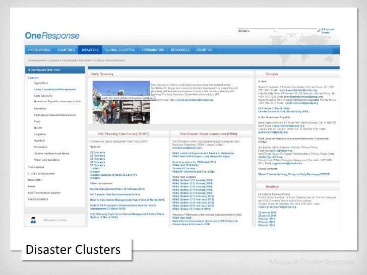 Disaster Clusters<br />
