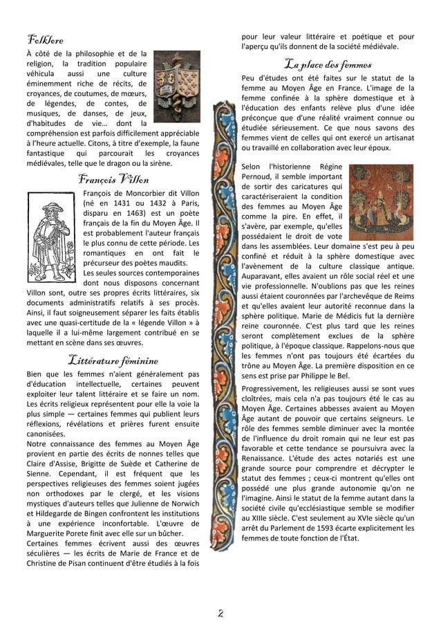 3 Musique La musique est extrêmement répandue au Moyen Âge, tant dans le domaine profane que sacré. Si peu de gens savent ...