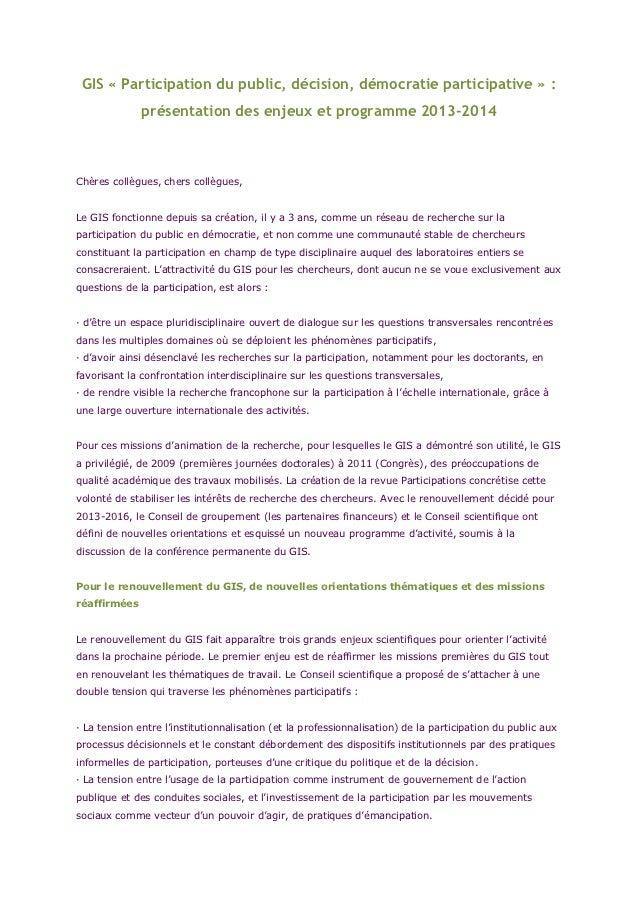 GIS « Participation du public, décision, démocratie participative » :              présentation des enjeux et programme 20...
