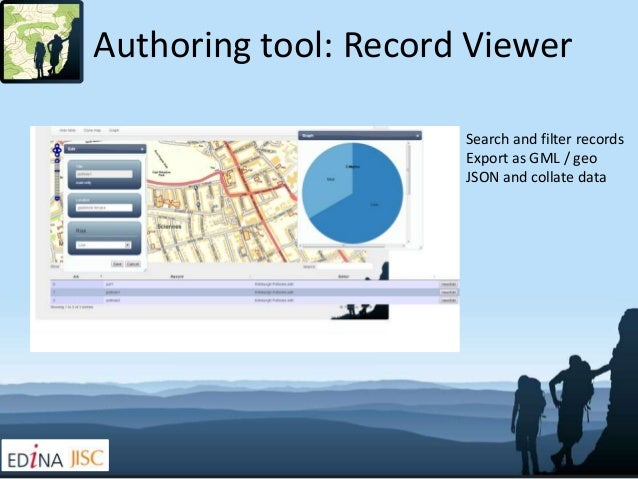 Authoring tool: Record Viewer                      Search and filter records                      Export as GML / geo     ...