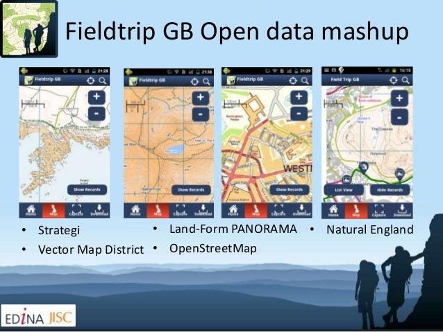 Fieldtrip GB Open data mashup• Strategi            • Land-Form PANORAMA • Natural England• Vector Map District • OpenStree...
