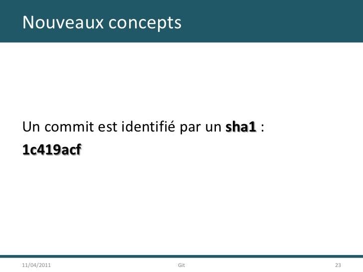 Nouveaux concepts<br />Un commit est identifié par un sha1 :<br />1c419acf<br />11/04/2011<br />23<br />Git<br />