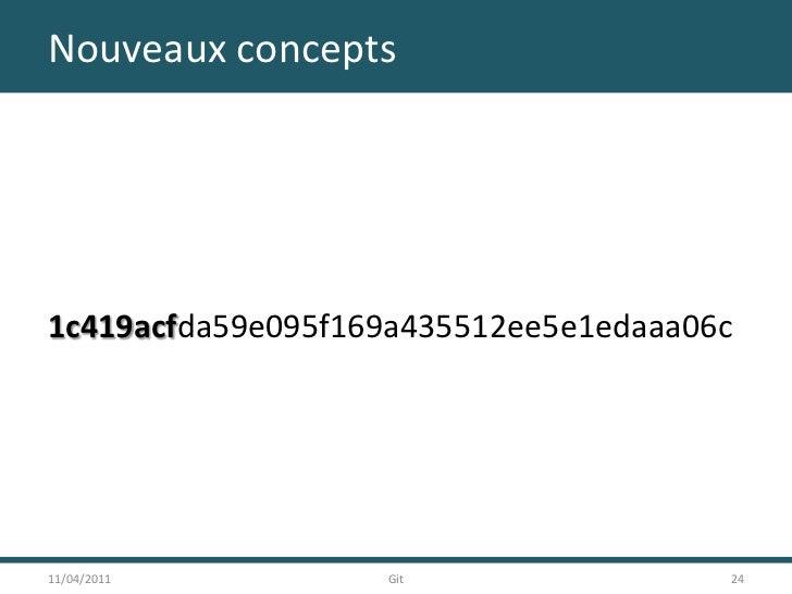 Nouveaux concepts<br />1c419acfda59e095f169a435512ee5e1edaaa06c<br />11/04/2011<br />24<br />Git<br />