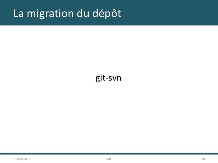 La migration du dépôt<br />git-svn<br />11/04/2011<br />26<br />Git<br />