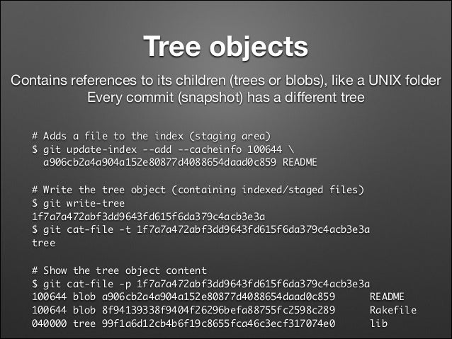 Tree objects Contains references to its children (trees or blobs), like a UNIX folder  Every commit (snapshot) has a differ...