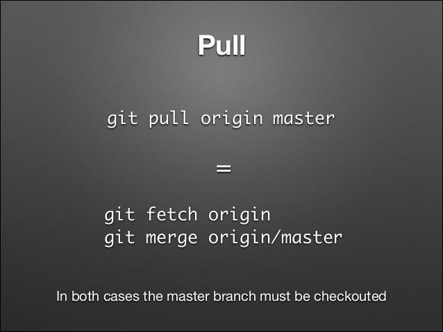 Pull git pull origin master  = git fetch origin git merge origin/master In both cases the master branch must be checkoute...