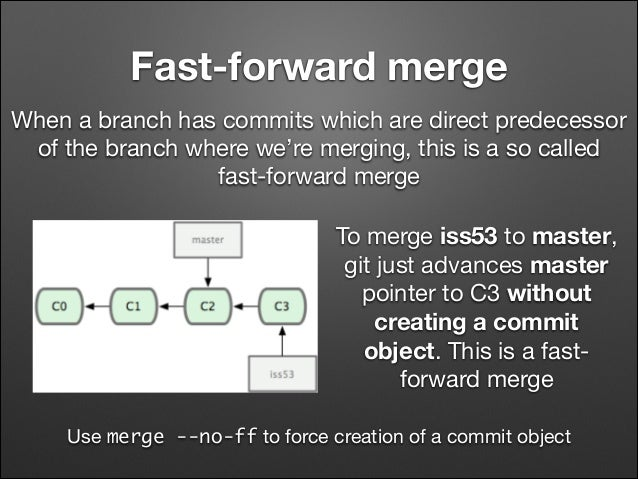 Fast-forward merge When a branch has commits which are direct predecessor of the branch where we're merging, this is a so ...
