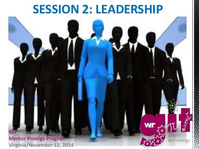 SESSION 2: LEADERSHIP  GIT  Mentor Protégé Program  Virginia/November 12, 2014