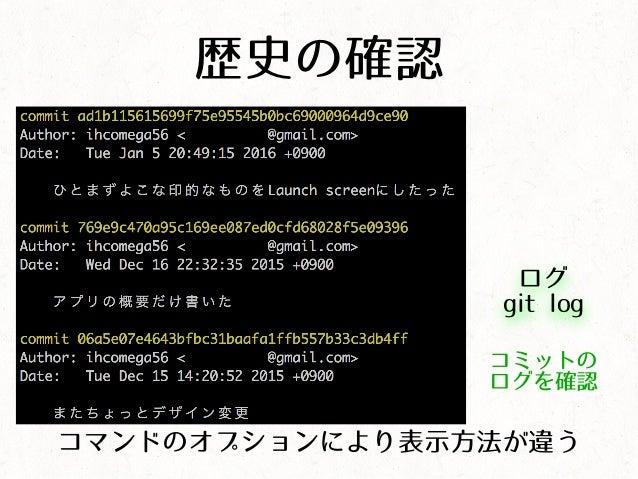歴史の確認 ログ git log コミットの ログを確認 コマンドのオプションにより表示方法が違う