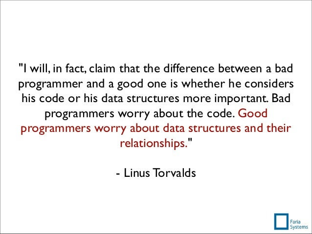 """""""I will, in fact, claim that the difference between a bad programmer and a good one is whether he considers his code or hi..."""