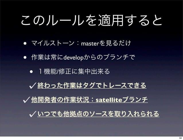 このルールを適用すると•   マイルストーン:masterを見るだけ•   作業は常にdevelopからのブランチで    •   1機能/修正に集中出来る        終わった作業はタグでトレースできる    他開発者の作業状況:satel...