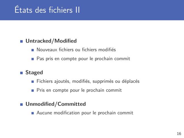États des fichiers II Untracked/Modified Nouveaux fichiers ou fichiers modifiés Pas pris en compte pour le prochain commit Stag...
