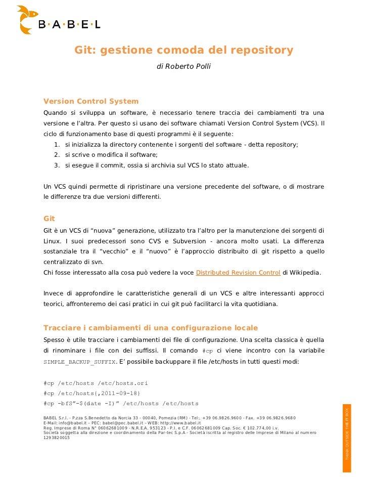 Git: gestione comoda del repository                                                      di Roberto PolliVersion Control S...
