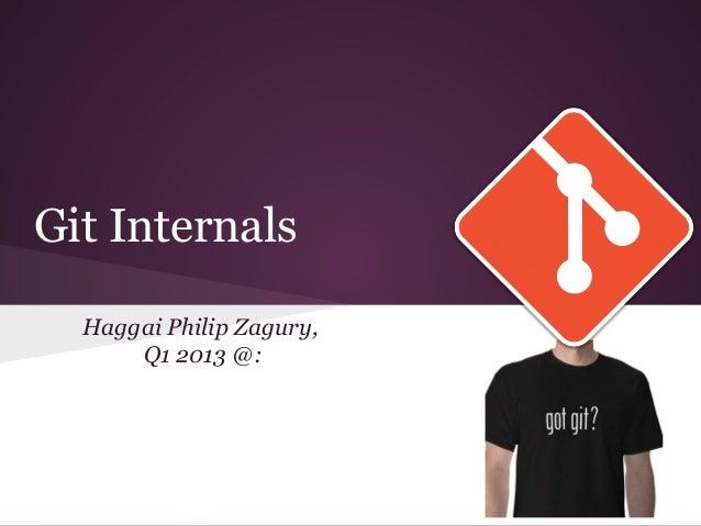 Git InternalsHaggai Philip Zagury,Q1 2013 @: