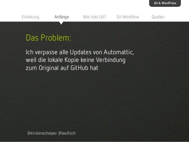 Git & WordPress  Einleitung  Anfänge  Wie tickt Git?  Git Workflow  Das Problem: Ich verpasse alle Updates von Automattic,...
