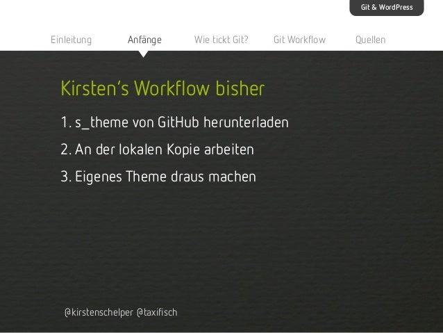Git & WordPress  Einleitung  Anfänge  Wie tickt Git?  Git Workflow  Kirsten's Workflow bisher 1. s_theme von GitHub herunt...