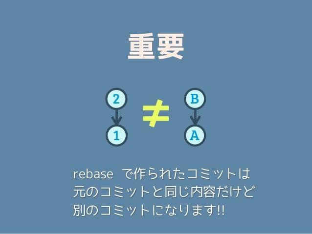 重要   2        B   1       ≠    A                本当?rebase で作られたコミットは元のコミットと同じ内容だけど別のコミットになります!!